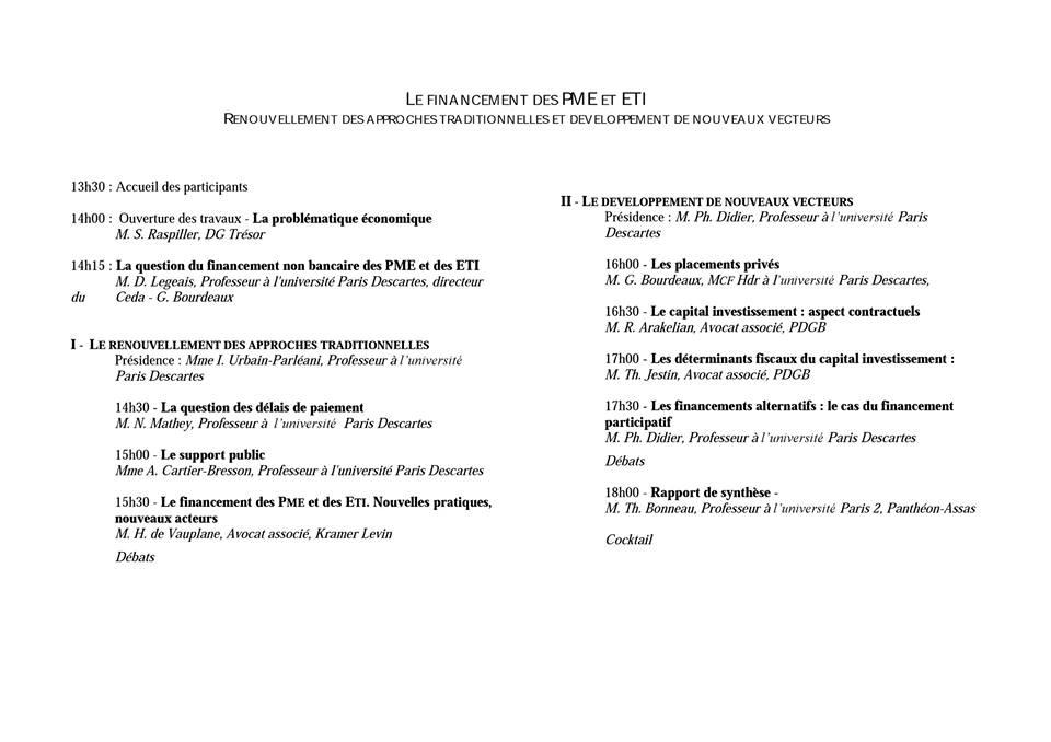 Programme Colloque Juriste d'affaires