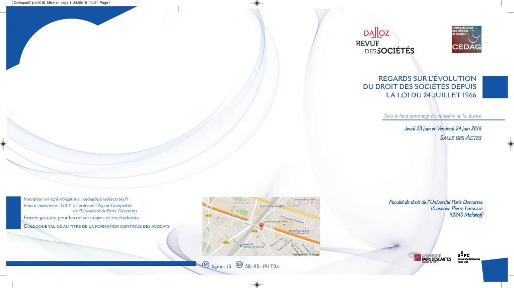 Colloque 23 - 24 Juin 2016 Revue des Sociétés Dalloz (1)