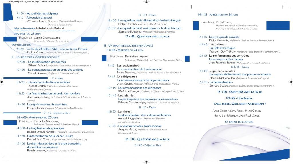 Colloque 23 - 24 Juin 2016 Revue des Sociétés Dalloz (2)
